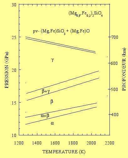 Diagramme de phase de l'olivine