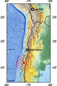 Localisation seisme Chili du 22 mai 1960