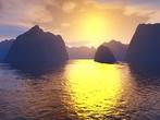 Terragen - Coucher de Soleil - Sunset