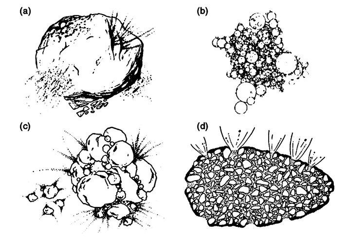 Vision d'artistes des différents modèles de noyaux comètaires : a- Le modèle de Whipple du icy conglomerate, b- le fractal aggregate de Donn et al., c- le primordial rubble pile de Weissman d- le modèle icy glue de Gombosi et Houpis. Ces différents modèles ont été proposés avant les missions spatiales vers les comètes exceptées le modèle d.