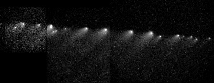 Image obtenue par le telescope spatial Hubble de la comète disloquée Shoemaker-Levy 9 en Janvier 1994. Les points les plus brillants sont les noyaux les plus gros ce qui correspond aux prédictions réalisées selon le modèle du rubble-pile.