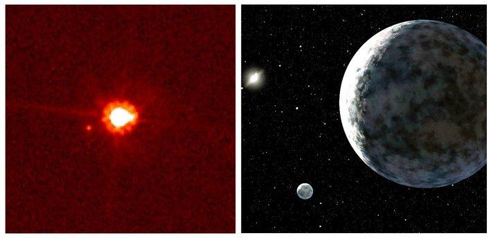 A gauche, l'objet transneptunien Eris (2003 UB 313) et son satellite Dysnomia vus par le télescope spatial Hubble. A droite, une représentation d'artiste de ces deux corps