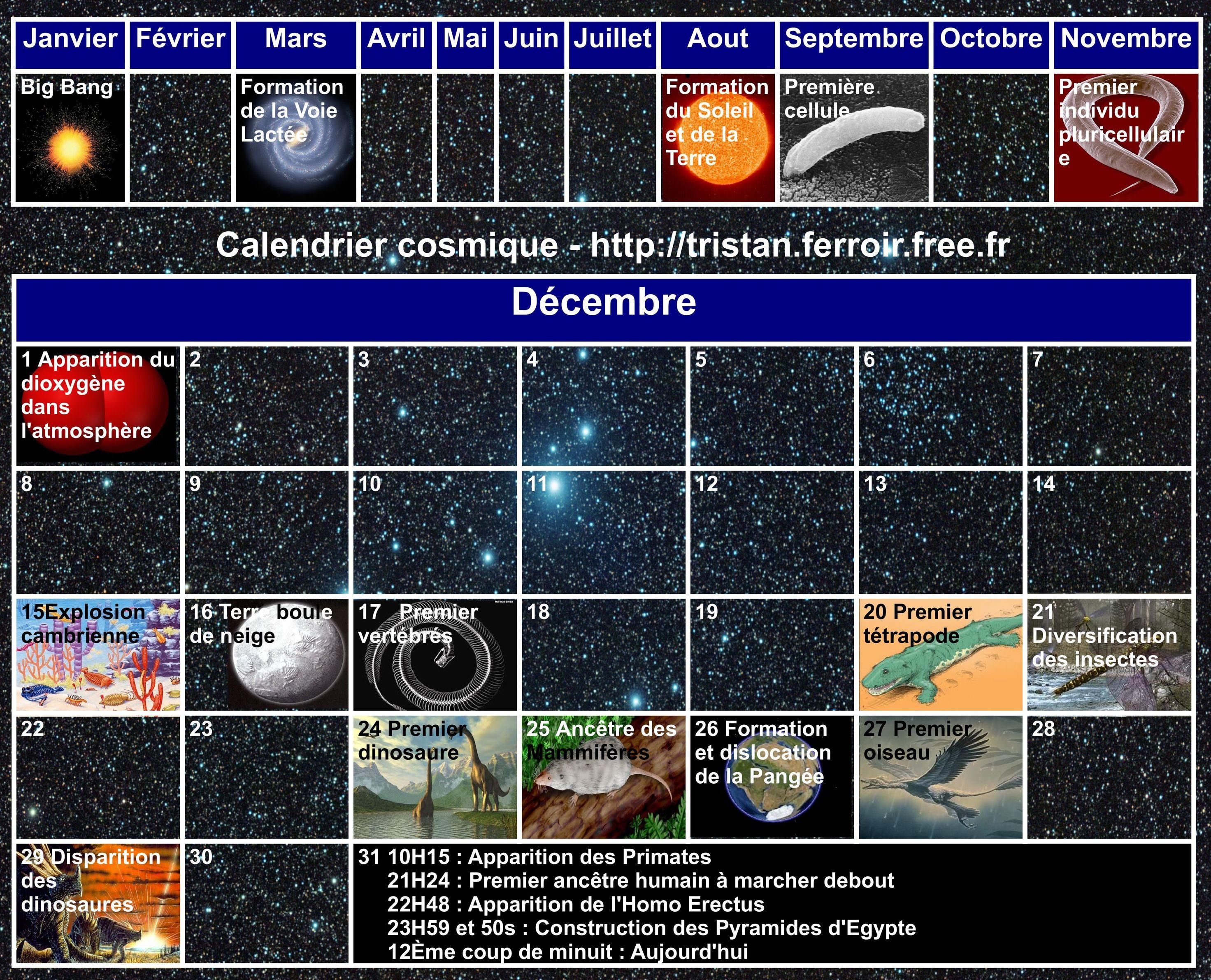 Calendrier cosmique en Français : L'histoire de l'Univers représenté sur un an