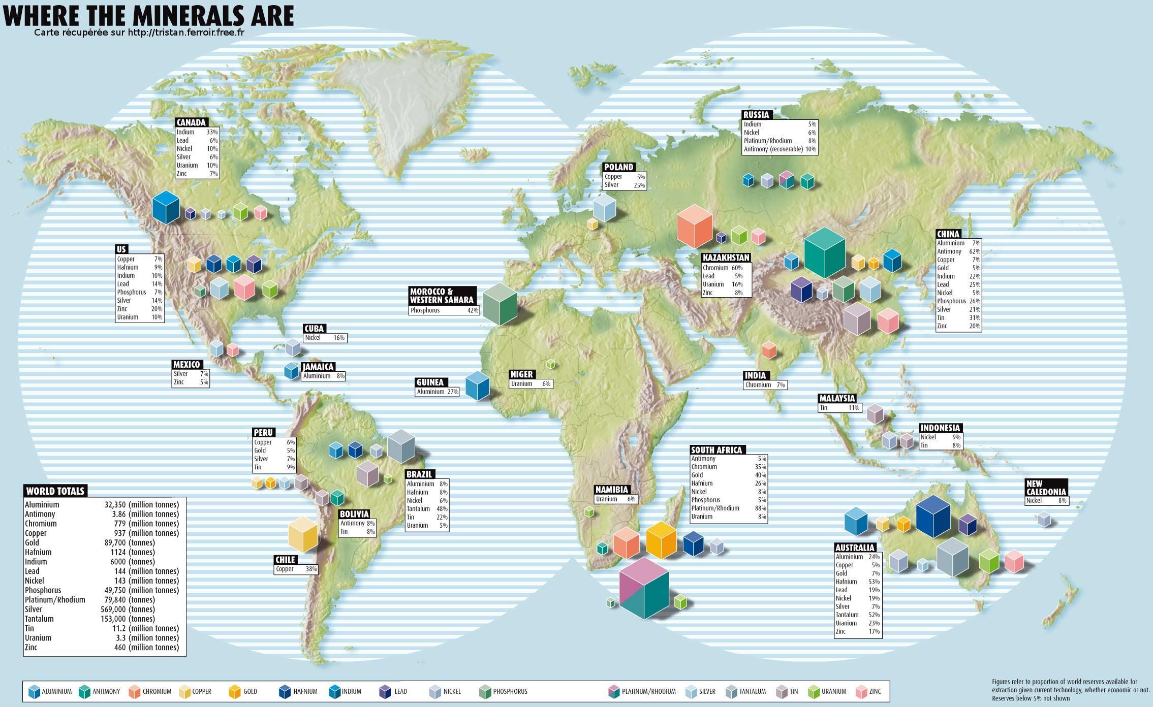 Carte mondiale de répartition des différents minerais d'interet économique (Aluminium, Antimoine, Chrome, Cuivre, Or, Hafnium, Indium, Plomb, Nickel, Phsphore, Platine, Plantinoïde, Rhodium, Argent, Tantale, Uranium et Zinc)